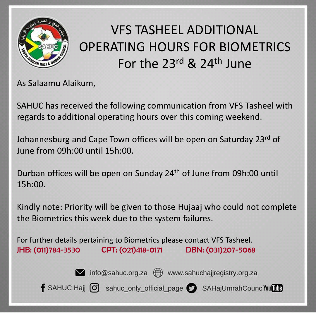 VFS Tasheel Additional operating hours for the 23rd & 24th